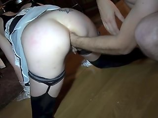 0169_Sexy housemaid gets a huge fist in the ass hole from his boss ####
