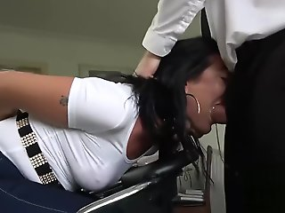 Milf in jeans and bondage gets rough sex and anal
