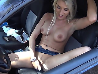 German MILF is publicly concerned in a parking lot in her ca
