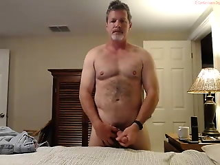 fit hairy daddy shoots his cum