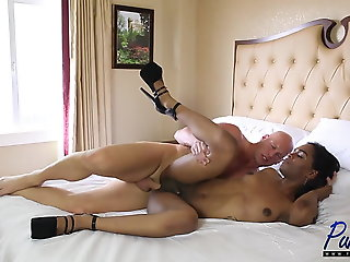 Daddy Takes Another Ebony Tgirl Pussy