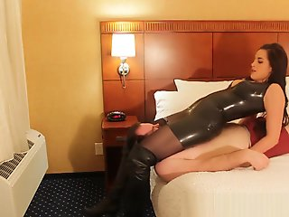 OTK boots latex headscissors