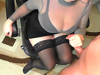 Teen Step Sister Handjob on her Stockings - Cum on Big Tits