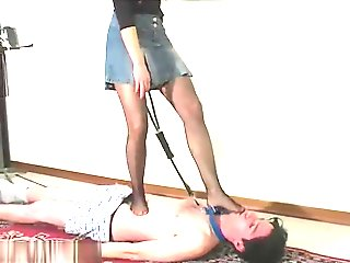Pretty itailan goddess trampling and shoes worship