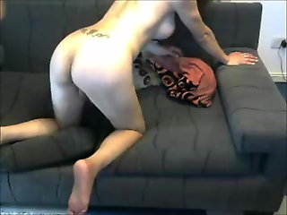 Amazing shemale getting drilled by her male lover on cam
